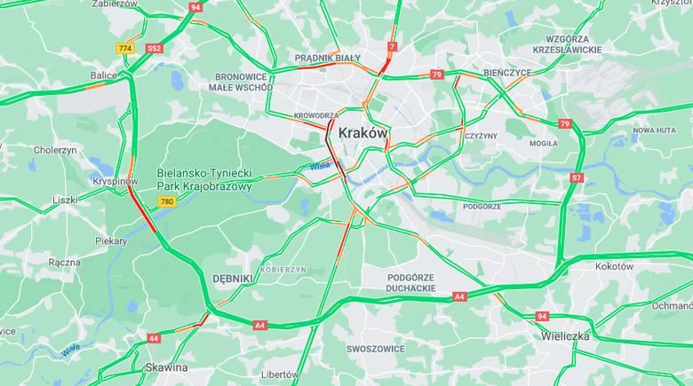 Sytuacja drogowa w Krakowie na godz. 19.40