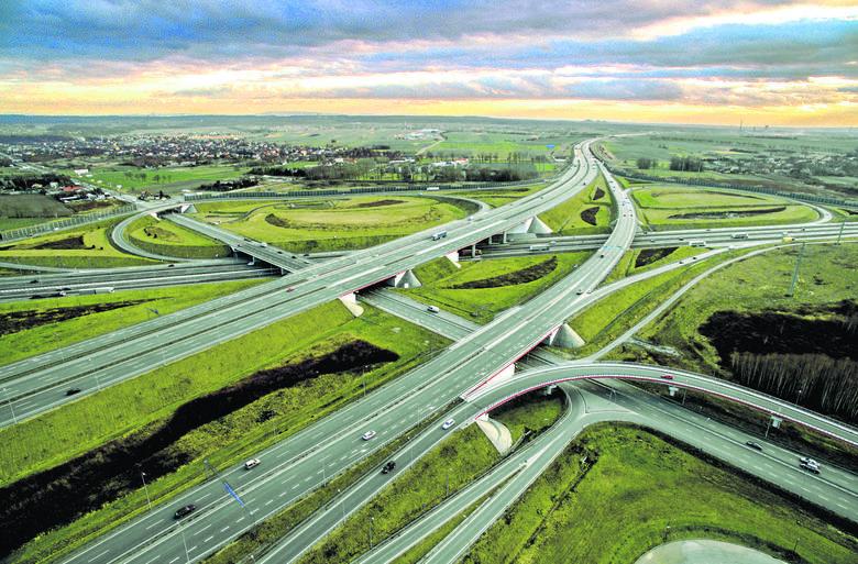Węzeł Sośnica w Gliwicach - tu łączą się autostrady A4 i A1. To jeden z największych węzłów drogowych w Polsce