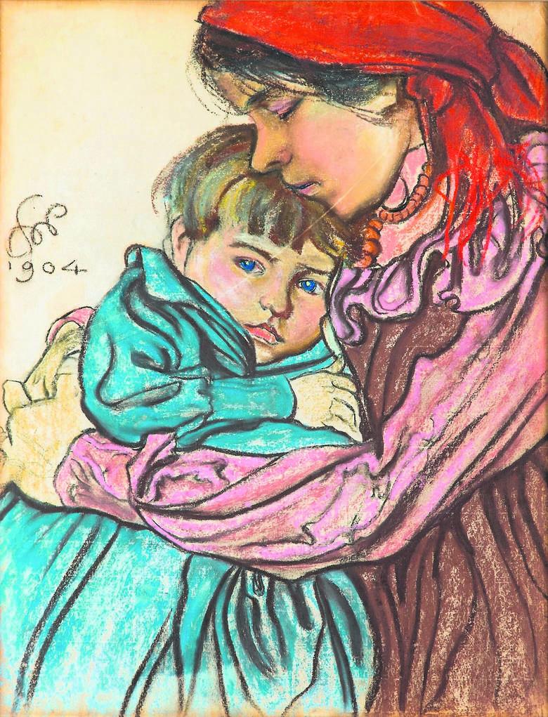 """Stanisław Wyspiański """"Macierzyństwo"""". Na obrazie żona malarza Teodora Teofilia Pytko  trzymająca na rękach jedno z trojga ich dzieci"""
