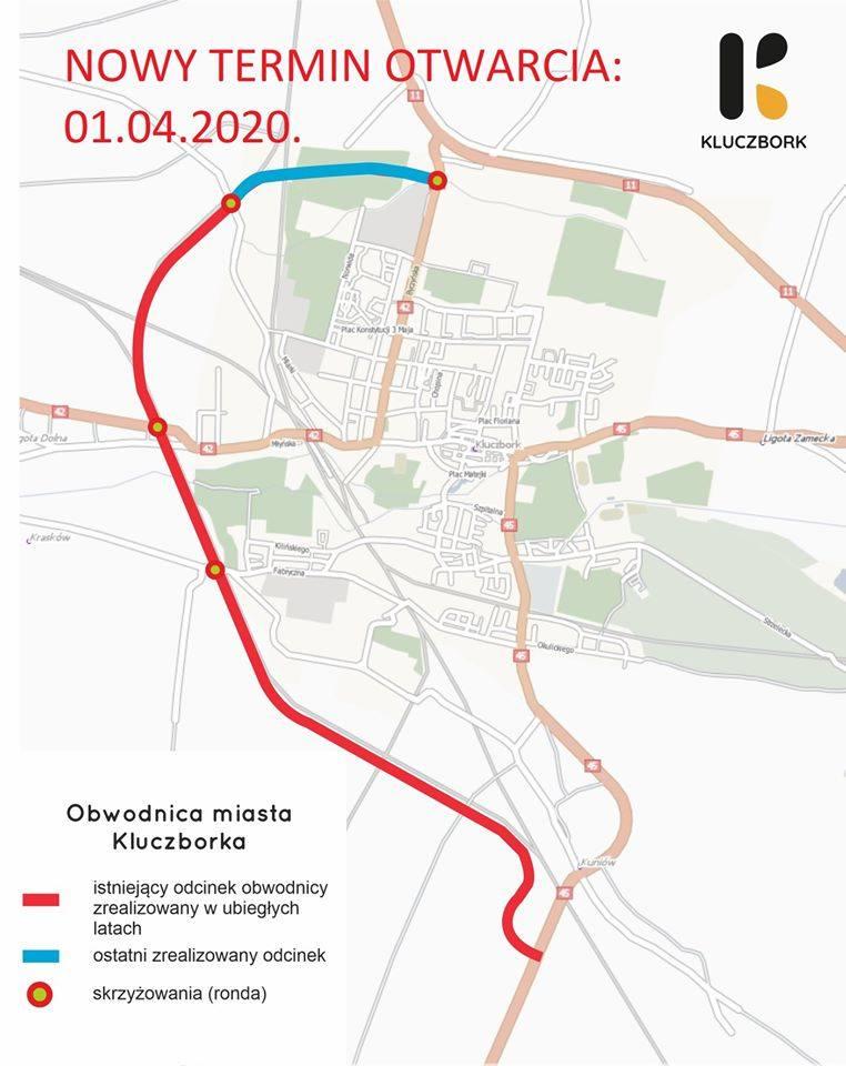 Mapa obwodnicy Kluczborka