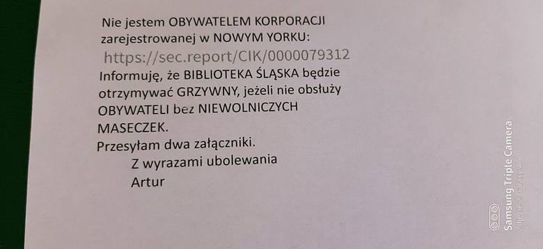 Zajadli przeciwnicy maseczek atakują Bibliotekę Śląską. Zasypują pracowników napastliwymi mejlami, obrzucają wyzwiskami