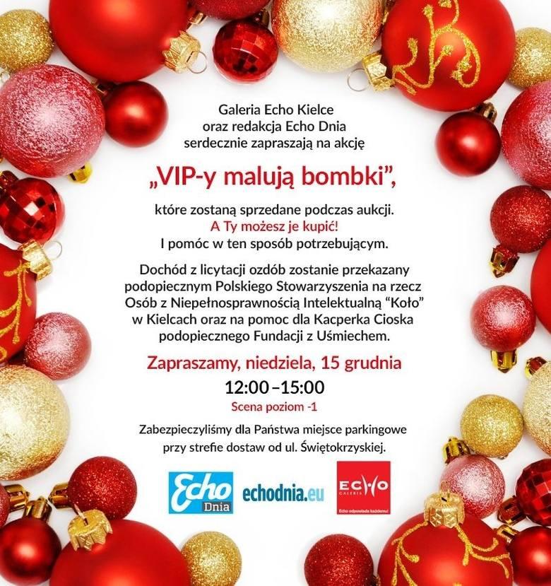 Malowana Niedziela 15 grudnia w Galeria Echo w Kielcach. VIP-y malują bombki, przyjdź, licytuj i pomóż Kacperkowi