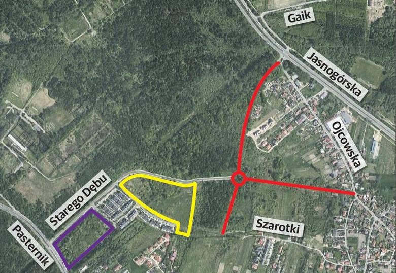 Układu komunikacyjnego ciągle nie ma, a planuje się już budowę galerii i rozbudowę osiedla.Fioletowy - teren pod planowane centrum handlowo-usługowo-rekreacyjne.Żółty