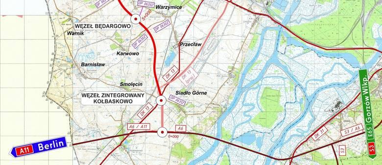 Początek ZOS od autostrady A6, aż do węzła Kołbaskowo będzie to wspólny odcinek z obwodnicą Przecławia i Warzymic. Gmina Kołbaskowo planuje poprowadzić