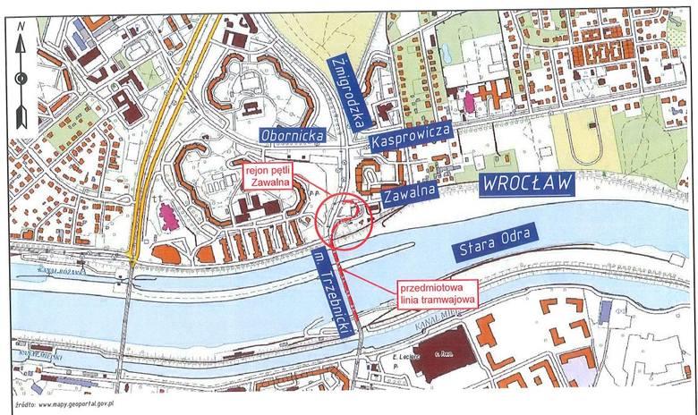Pętla położona jest w pobliżu skrzyżowania ulic Żmigrodzkiej i Zawalnej. Odcinek do planowanego remontu rozpoczyna przy zjeździe na ul. Żmigrodzką, a