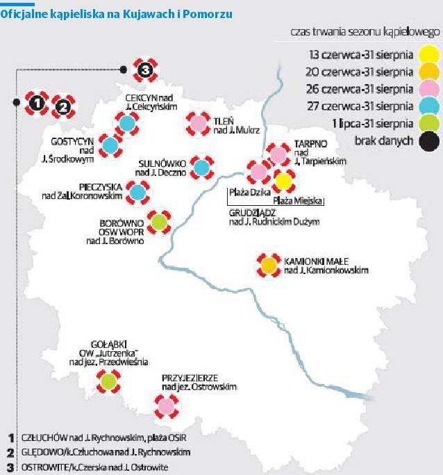 Dokładne położenie kąpielisk oraz podstawowe aktualizowane informacje o nich można znaleźć w serwisie kąpieliskowym Głównego Inspektoratu Sanitarno-Epidemiologicznego