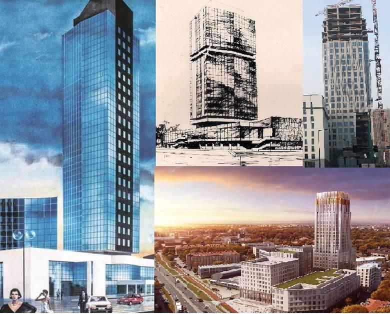 Kraków. Szkieletor w różnych szatach. Zobacz, jak przez pół wieku zmieniały się projekty wieżowca [WIZUALIZACJE, ZDJĘCIA]