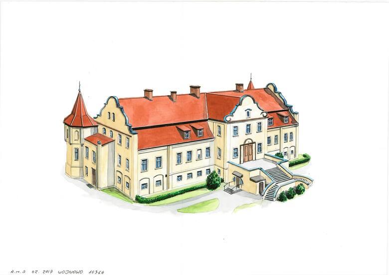 Wojnowski pałac jest położony w pięknych okolicznościach przyrody, na brzegu jeziora
