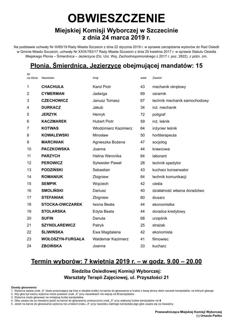Rada Osiedla Płonia, Śmierdnica, Jezierzyce