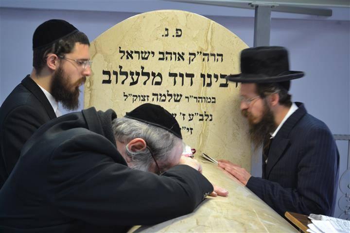 Chasydzi w Lelowie modlą się na grobie cadyka Dawida Bidermana [ZDJĘCIA]