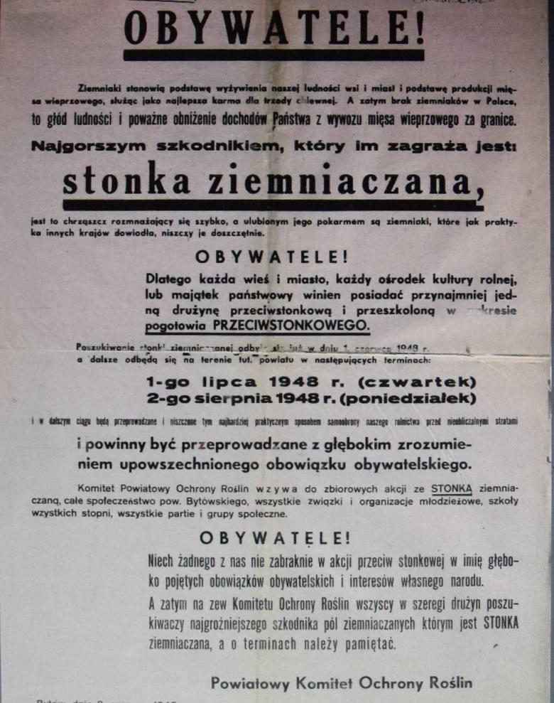 """W fotogalerii zamieszczamy powojenne afisze (do 1948 r.) z Bytowa. To m.in. apel o walkę ze stonką (m.in. """"Niech żadnego z nas nie zabraknie w akcji"""