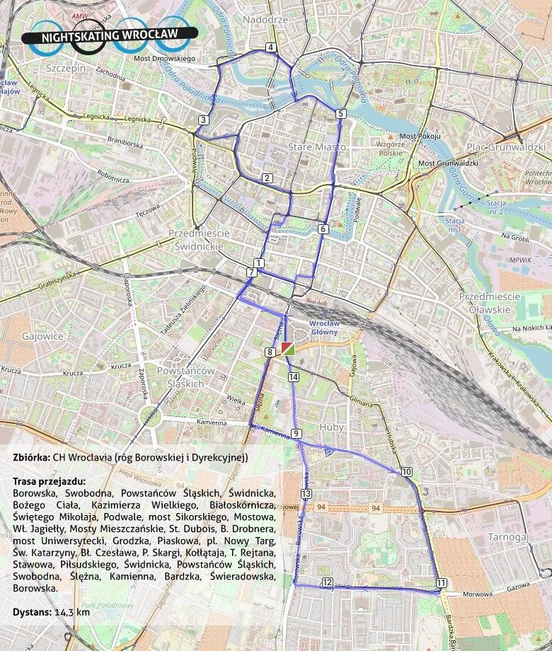Trasa przejazdu rolkarzy we Wrocławiu