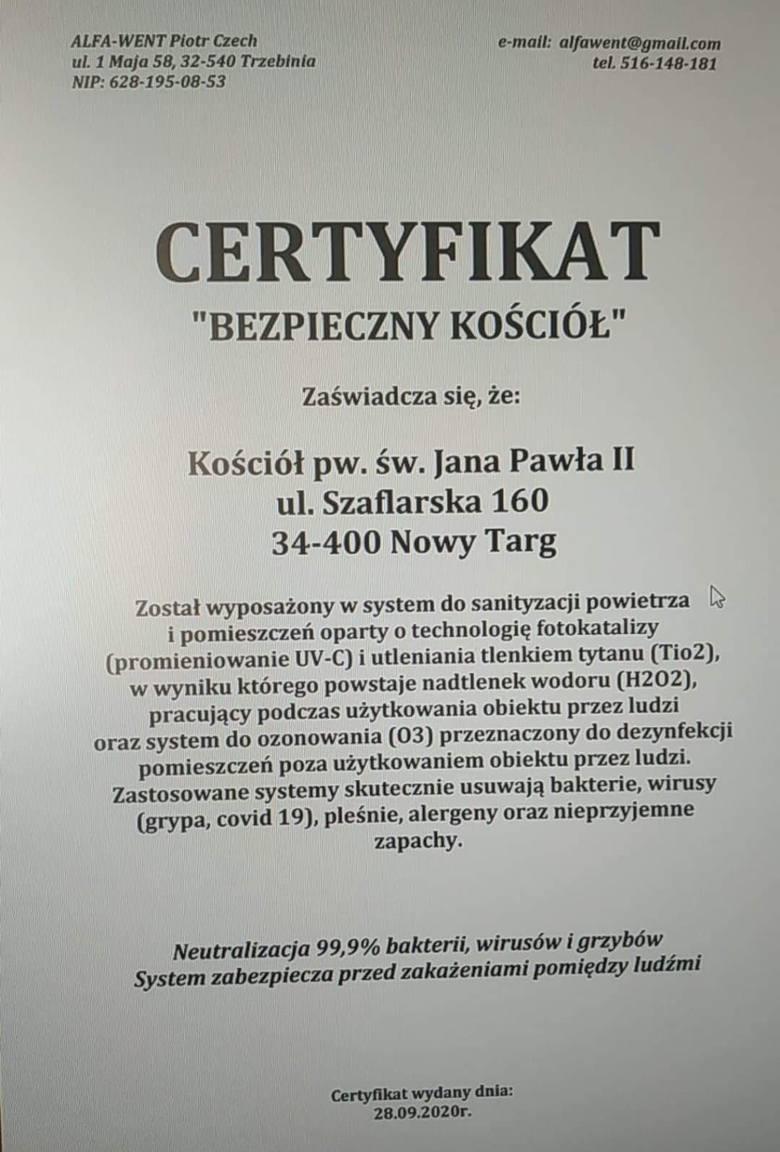 Nowy Targ. Proboszcz zrobił z kościoła strefę wolną od koronawirusa.