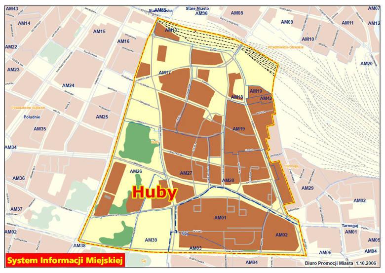 Osiedle Huby według nowego podziału Wrocławia. Opisywane skrzyżowanie oznaczone czerwoną kropką. Zobacz mapę w powiększeniu