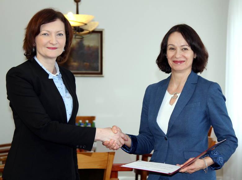 Lucyna Podhalicz (nz. z prawej) na wniosek wojewody podkarpackiej Ewy Leniart (nz. z lewej) została nowym wicewojewodą podkarpackim w lutym 2018 roku.