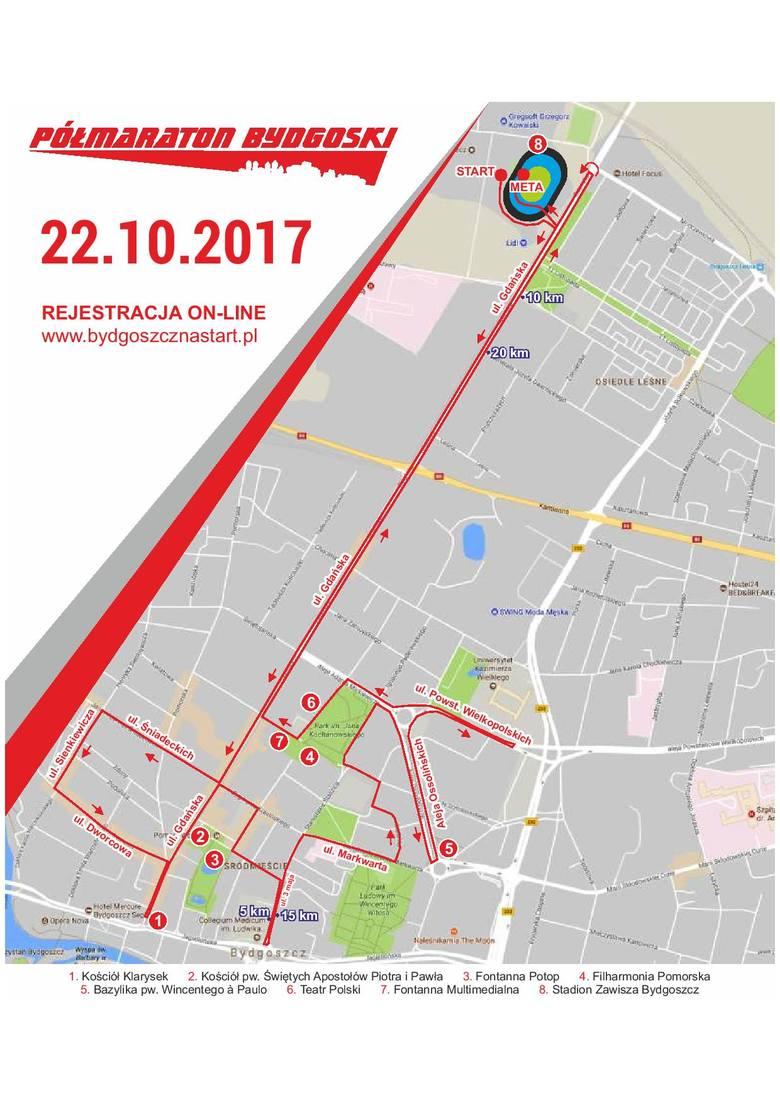 5. Półmaraton Bydgoski. Zamknięte ulice, zmiany w komunikacji [TRASA, MAPA]