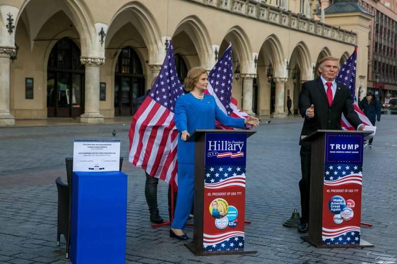Kandydaci na prezydenta USA stanęli na Rynku Głównym, a mieszkańcy Krakowa głosowali [ZDJĘCIA]