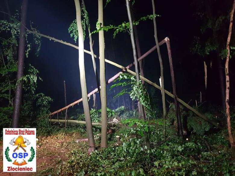 W sobotę przed godziną 20 Ochotnicza Straż Pożarna Złocieniec zaczęła być dysponowania do usuwania skutków trąby powietrznej, gradobicia oraz bardzo