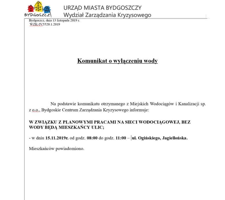 Planowane wyłączenia wody w Bydgoszczy [15.11.2019]