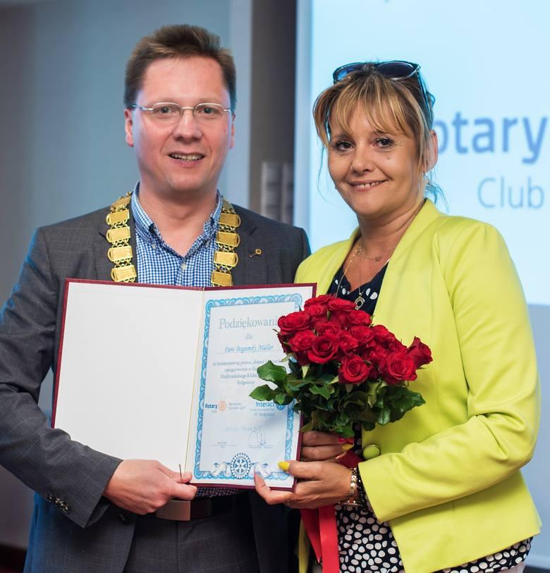 Nowy prezydent Michał Ławicki podziękował za bezinteresowną pomoc Bogumile Müller.