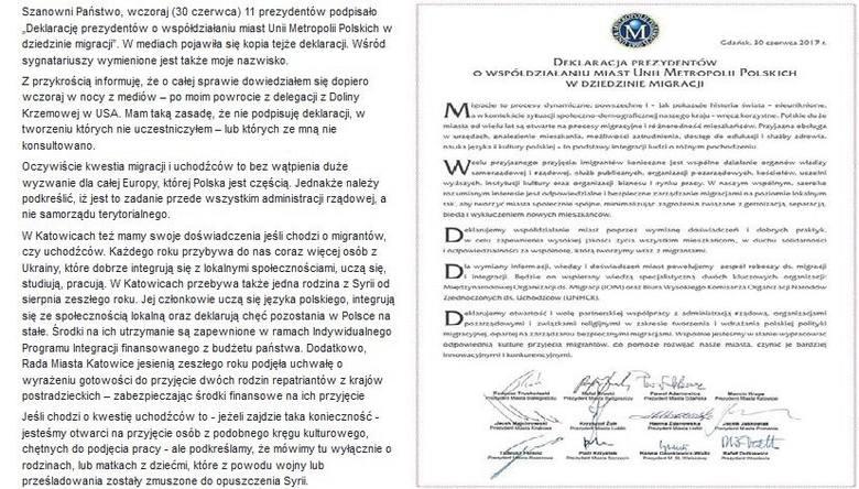 Deklaracja ws. migrantów: Czego nie podpisał Krupa?