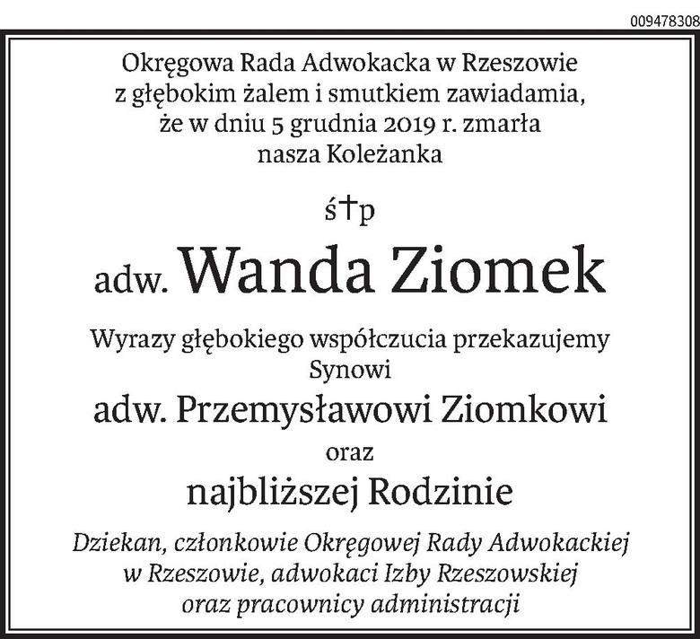 Nekrologi i Kondolencje z dnia 9 grudnia 2019 roku