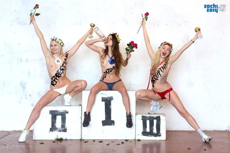 Soczi 2014: Nagie aktywistki Femen protestowały w Berlinie przeciwko igrzyskom [ZDJĘCIA]