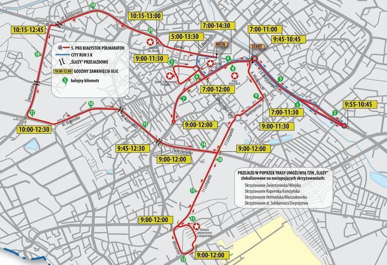 Mapa przebiegu trasy 5. PKO Białystok Półmaratonu