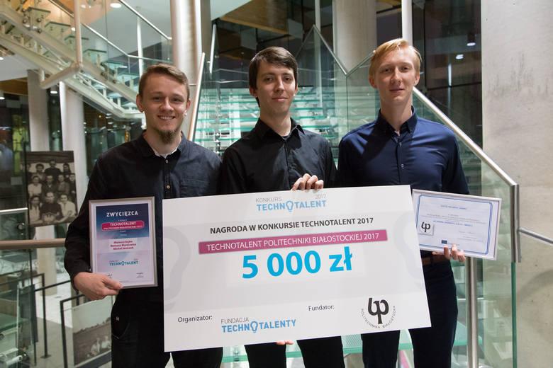 Mateusz Bajko, Mateusz Markiewicz, Michał Jaszczuk to ekipa Animy, która zwyciężyła w kategorii Technotalent Politechniki Białostockiej i Biznes zdobywając dwa czeki po 5 tys. zł.