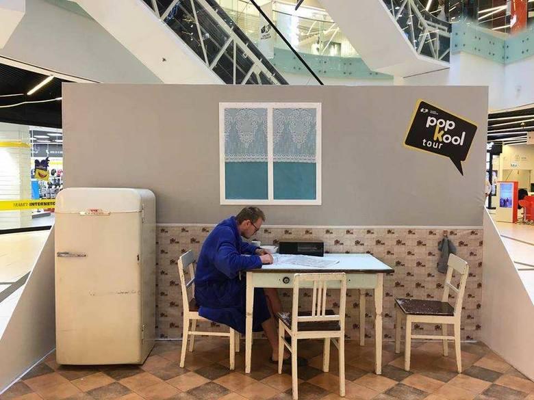 Instalacja w Galerii Katowickiej promująca projekt PopKooltour.