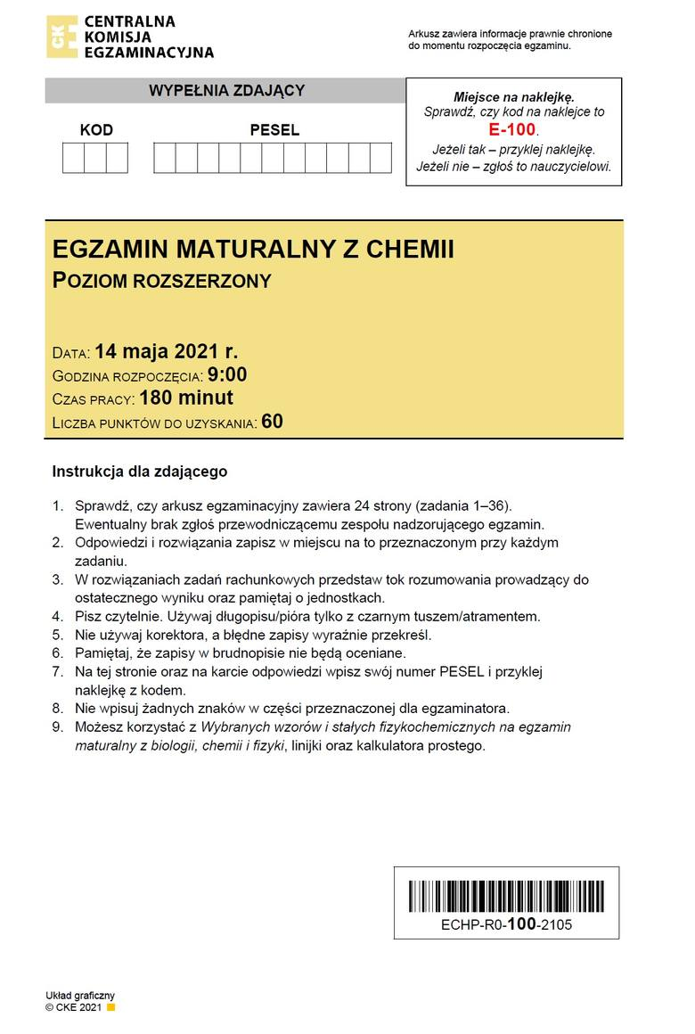 ODPOWIEDZI do matury z chemii 2021 >>>Arkusz CKE pojawił się po godz. 14. Na bieżąco dodawane będą sugerowane odpowiedzi do egzaminu