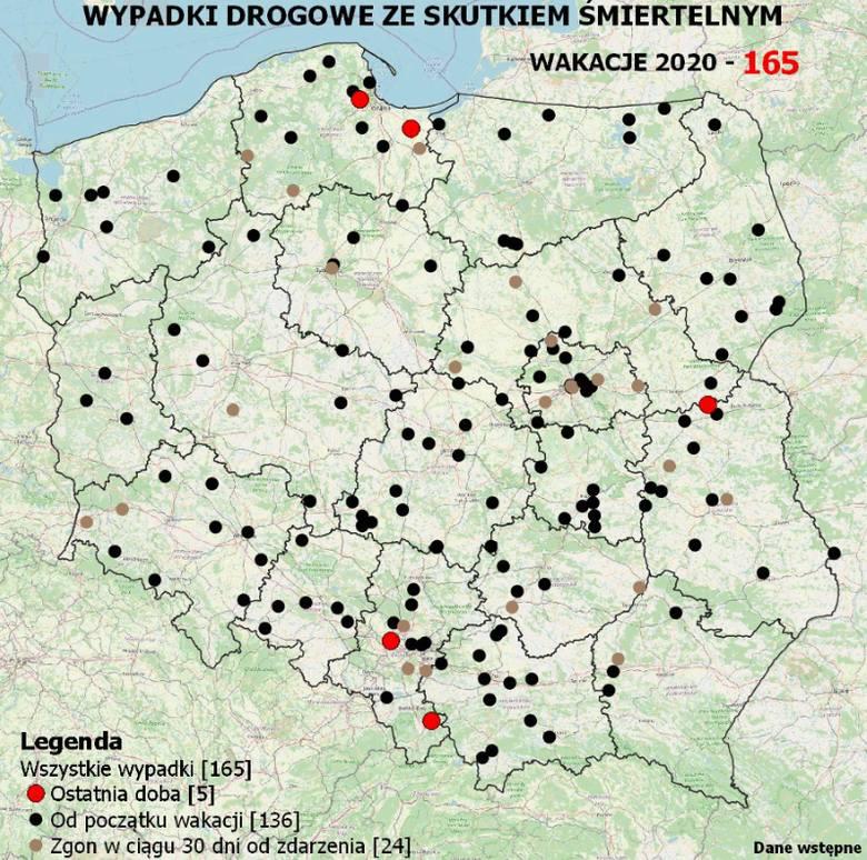 Wypadki w Polsce. Ile osób zginęło od początku wakacji 2020? [mapa]