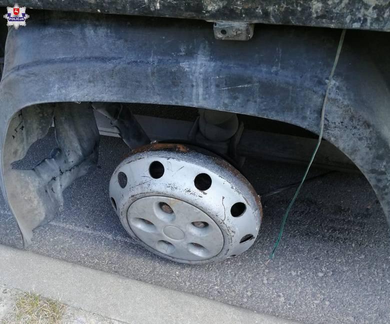 Samochód dostawczy na trzech oponach w Kurowie. Kierowca z pow. radomskiego chciał jechać dalej