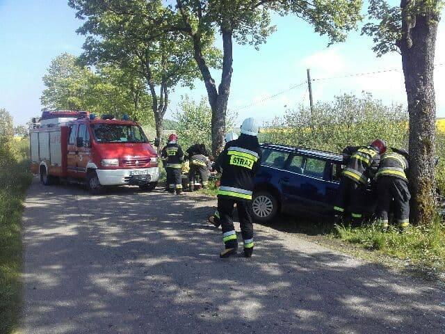 Między Sławskiem, a Radosławiem (gmina Sławno) samochód osobowy zjechał z drogi i uderzył w drzewo. Ranny został kierowca pojazdu. - Z niewiadomych na