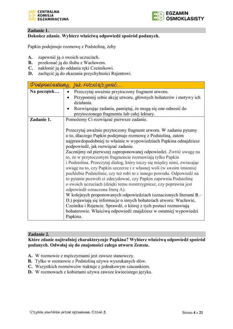 Egzamin ósmoklasisty CKE 2020: zestaw zadań powtórkowych [ARKUSZ, KLUCZ ODPOWIEDZI]