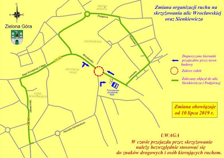 Zielona Góra. Uwaga kierowcy! Będą utrudnienia na skrzyżowaniu ulic Wrocławskiej i Sienkiewicza. Rusza budowa ronda