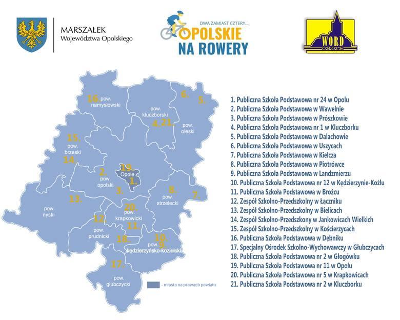 """,,Dwa zamiast cztery: Opolskie Na Rowery"""" - mapa szkół"""