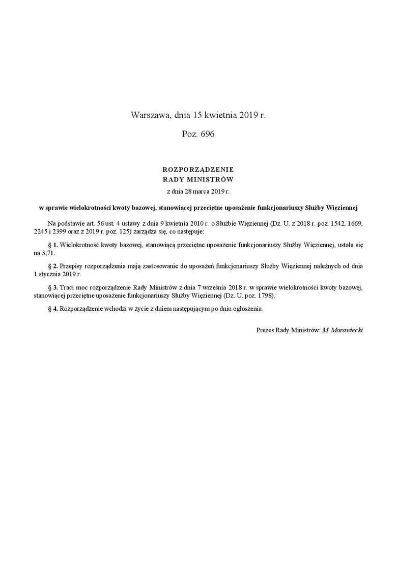 15 kwietnia w Dzienniku Ustaw zostało opublikowanie rozporządzenie w sprawie podwyżek dla służby więziennej