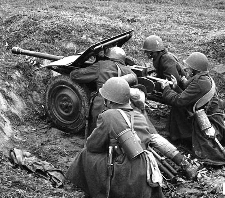 Armata Bofors z rozłożonym pancerzem na manewrach.