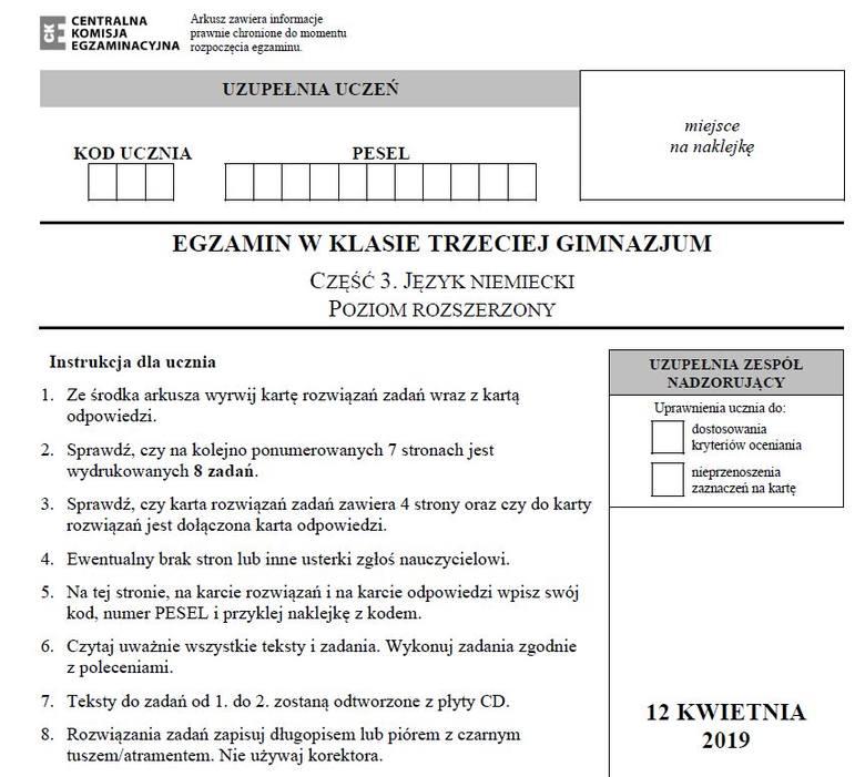 Egzamin gimnazjalny 2019. JĘZYK NIEMIECKI P. ROZSZERZONY ARKUSZ CKE I ODPOWIEDZI. Testy gimnazjalne (j. niemiecki rozszerzenie) 12.04.2019