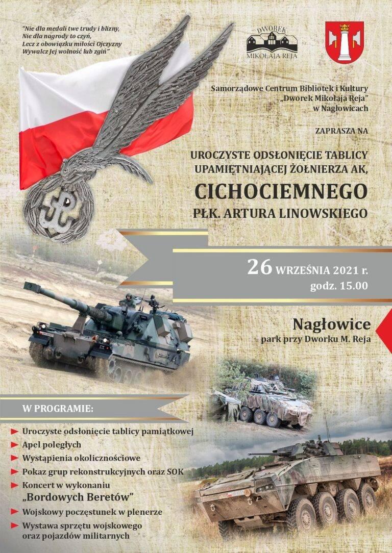 Odsłonięcie tablicy upamiętniającej żołnierza Armii Krajowej, Cichociemnego - Artura Linowskiego w Nagłowicach. Znamy harmonogram