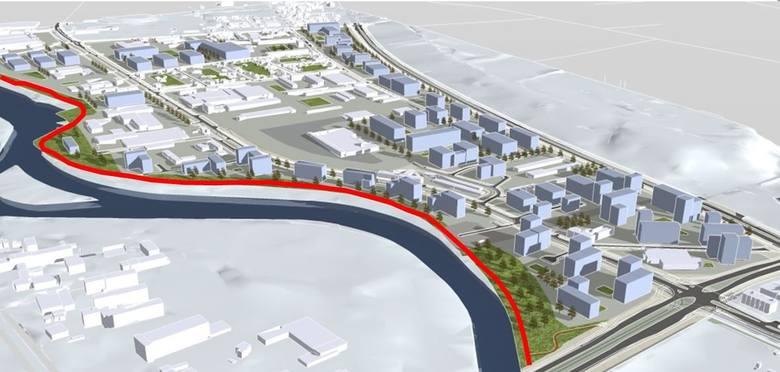 Projektem planu objęty jest obszar o powierzchni ok. 125 ha zawarty pomiędzy ulicami: Sporną, Kielecką, Nowotoruńską, Kazimierza Wielkiego i rzeką B