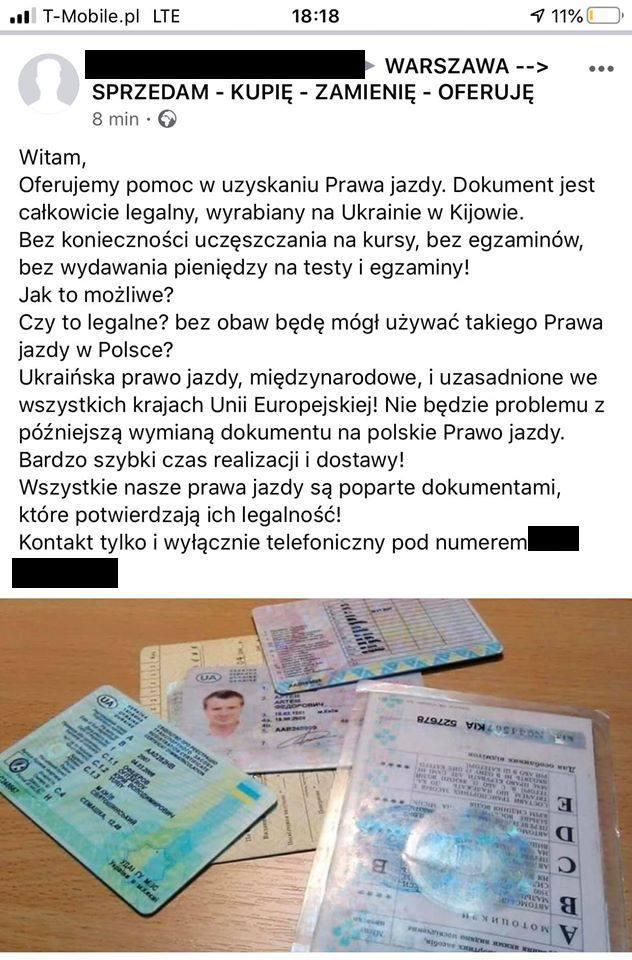 """Jedno z ogłoszeń o """"załatwianiu"""" ukraińskich praw jazdy"""