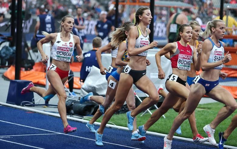 Angelika Cichocka podczas biegu na 800 metrów na mistrzostwach Europy w Berlinie w 2018 roku
