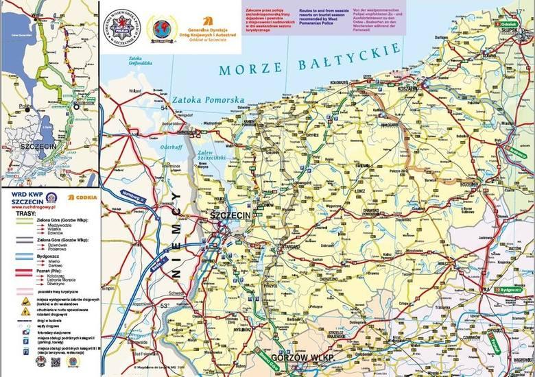Zobacz, jak ominąć (największe) korki na drogach nad morze w woj. zachodniopomorskim! LINK: Mapa tras alternatywnych nad morze w większej rozdzielczości
