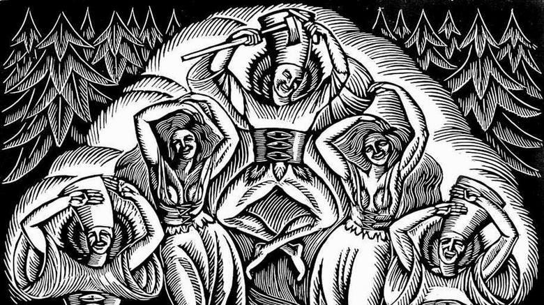 """Drzeworyt """"Taniec"""" z 1921 roku to przykład jednego z wielu dzieł, które wyszło spod ręki (a raczej dłuta) Władysława Skoczylasa"""