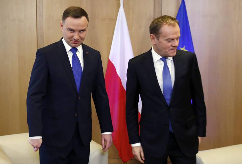 Prezydent Andrzej Duda i Donald Tusk.