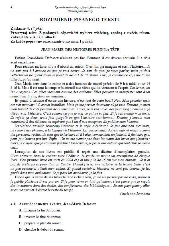 Matura 2014: Język francuski - podstawa, rozszerzenie [ODPOWIEDZI, ARKUSZE CKE]