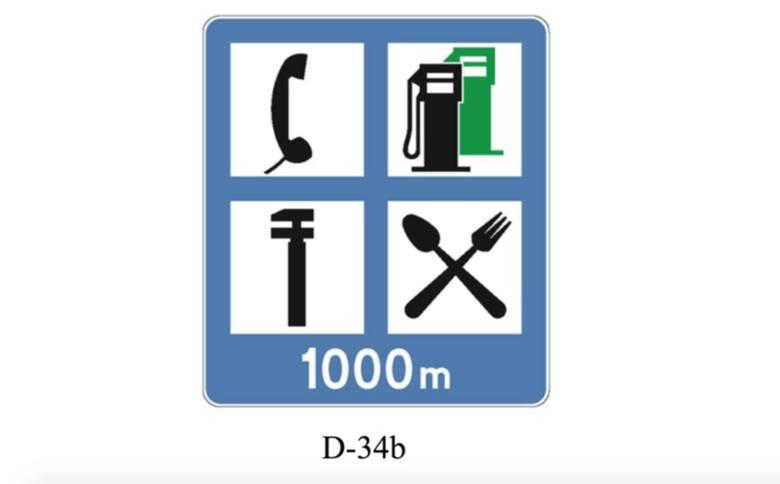 Do zbiorczej tablicy informacyjnej dodany zostanie znak informujący o obiektach dla podróżnych znajdujących się przy drodze - np. odległość od następnej