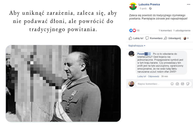 Tak wyglądał post, który umieściła na facebooku Lubuska Prawica. Wpis został już usunięty.